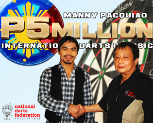 P5M MANNY PACQUIAO DARTFEST SET NOV 27-30 AT GENSAN- Manny Pacquiao, a darter himself, will sponsor anew the country's biggest dart tournament that is expected to attract more than 500 darters from all over the Philippines and even from other countries who will be running after the record cash prizes in the P5M event in General Santos City from Nov.27 to 30. Photo shows Pacquiao with National Darts Federation of the Philippines President and event organizer Tito Soncuya finalizing the event with a handshake.