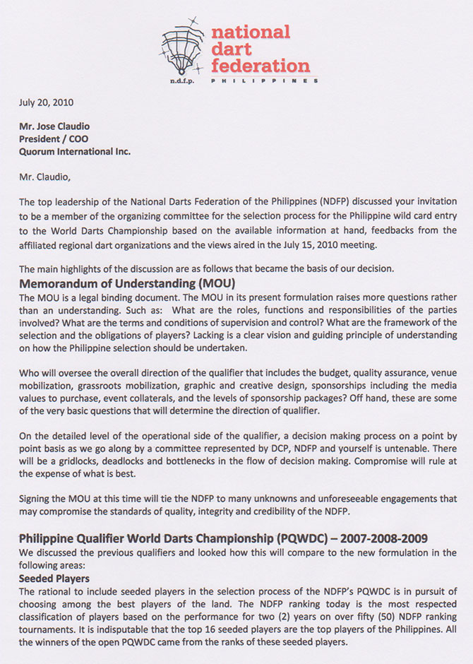 Pq2010 Ndfp Response To The Letter Of Invitation